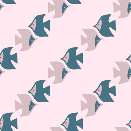 Seamless background. Fish swim in different directions . Flat Vector illustration . Can be used as fabric, wrapping paper, background, Wallpaper, bag template, cover and other surfaces.