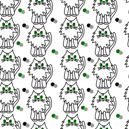 Seamless pattern with cute cat. Perfect for cards, invitations, party, banners, kindergarten, baby shower, preschool and children room decoration. 일러스트