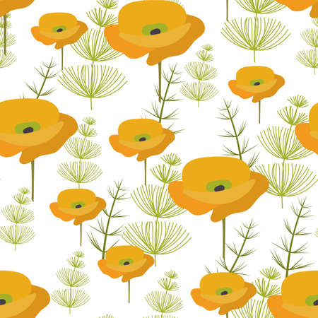 Seamless pattern. yellow poppy Flowers and green herbaceous plants. Vector background, suitable for fabric, textiles, bedding, covers. Ilustração