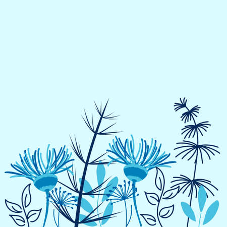 Cute blue flowers, cornflowers, field plants, herbs. Vector floral border for postcard, advertisement and poster.