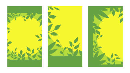 Vector Set backgrounds with space for text. Twigs and leaves.  イラスト・ベクター素材
