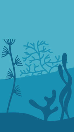 Underwater, the contours of plants and silhouettes of plants. Background, scenery. Vector hand drawn illustration on blue background  イラスト・ベクター素材