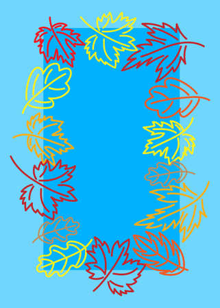 Autumn leaves on a blue background. Vector. Greeting card.