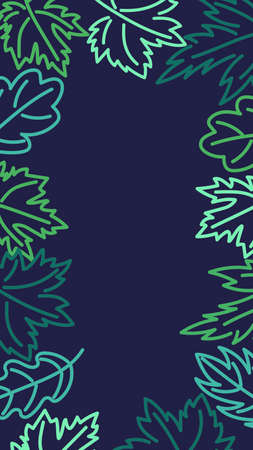 Screensaver for phone. Background with space for text. Green leaves on a blue background. Vector.  イラスト・ベクター素材