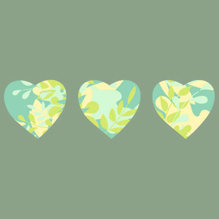 Hearts painted with flowers. Decor for greeting cards, posters, invitations and more, vector illustration  イラスト・ベクター素材