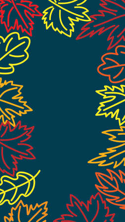 Screensaver for phone. Background with space for text. Autumn leaves on a blue background. Vector.  イラスト・ベクター素材