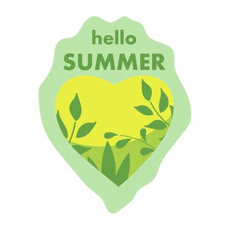 Hello summer. Heart and plants. Hand drawn Vector illustration.