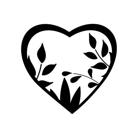 Heart frame made from leaves - ecology concept. Vector.  イラスト・ベクター素材