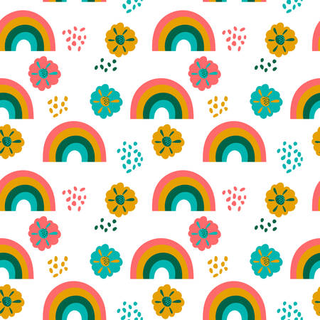 Seamless pattern with bright rainbows, flowers and Doodle elements on a white background . Creative Scandinavian baby texture for fabric, wraps, textiles, Wallpaper, clothing. Vector illustration
