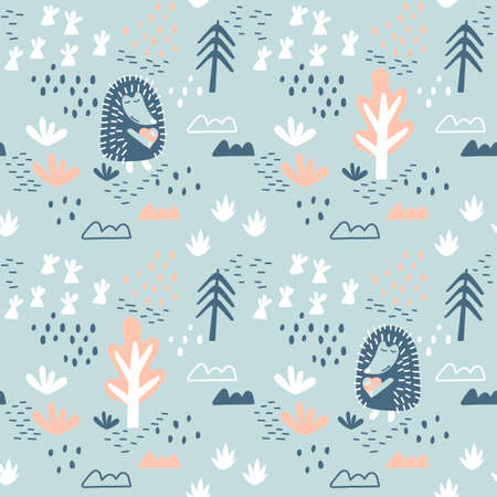 Childrens seamless models with a Cute Hedgehog . Trees, vegetation, and Doodle elements. Childrens drawn vector background . Ideal for children fabric, textiles, jewelry, wrapping paper.  イラスト・ベクター素材