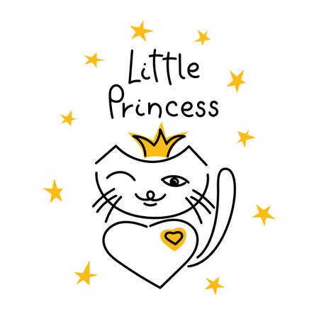 Cute kitty and the inscription Little Princess. Vector illustration  イラスト・ベクター素材