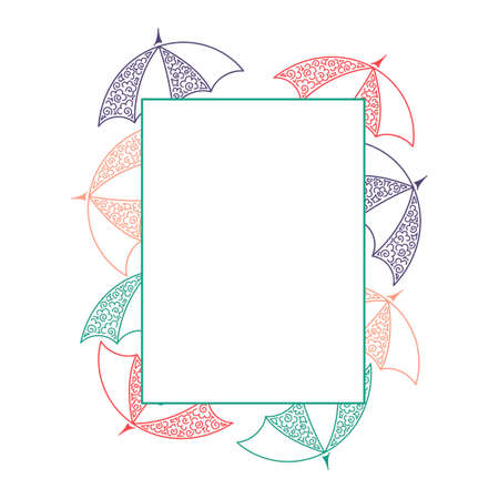 Umbrellas. Doodle. Frame space for text. Hand drawn Vector illustration  イラスト・ベクター素材