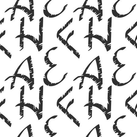 Seamless pattern with Letters . Ragged texture, Hand drawn background. Can be used as fabric, wrapping paper, background, Wallpaper, bag template, cover and other surface. Black and white