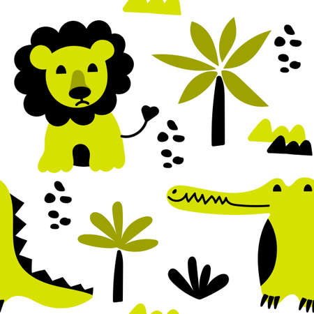 Seamless two-color pattern with cute lions and crocodiles. African animals and jungle plants in flat style. Childrens Vector background.