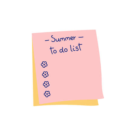 To do list. A paper note with a task plan. School business diary. Gardener's diary. Vector isolated hand drawn sketches to check your to do list. Vetores