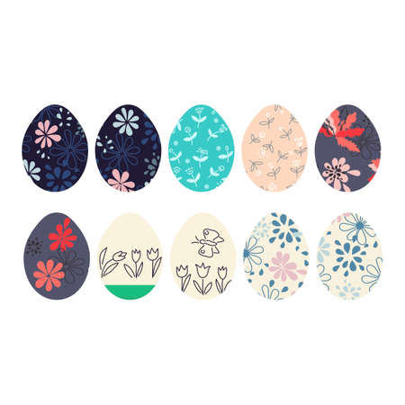 10 Easter eggs icons. Eggs painted with flowers. Vector illustration  イラスト・ベクター素材