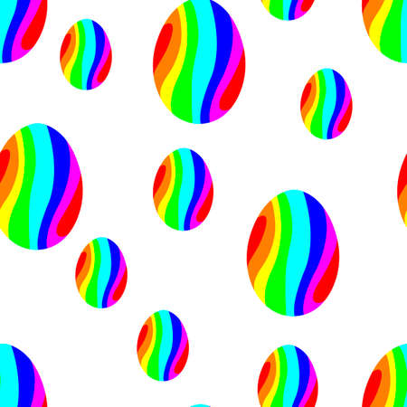Seamless pattern. Easter eggs are painted with abstract waves. Bright color. Hand-drawn vector illustration.  イラスト・ベクター素材