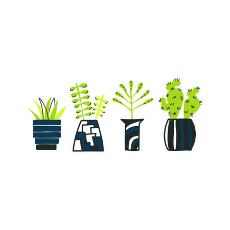 Set of doodle home plants. Vector hand drawn pots with flowers. Doodle silhouette on white background.