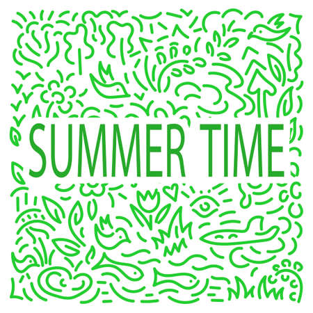 Summer time . Doodle hand drawing Background. Flowers, leaves, birds. Vector