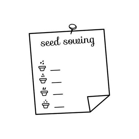 Seed sowing. text. Gardeners diary. Vector isolated hand drawn sketches to check your to do list.