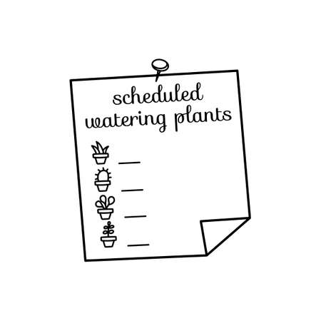 Schedule watering of the plants. Writing form. Icons of houseplants. Hand-drawn vector illustration.