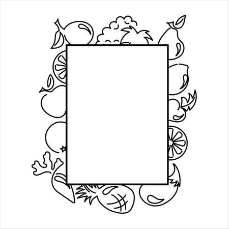 Fruits and vegetables. Outline. Frame, space for text Vector illustration