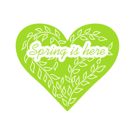 Spring is here. Hand drawn heart and branches with leaves. Vector illustration. Green and white.