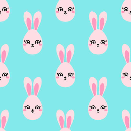 Cute hand drawn bunnies seamless background, Doodle vector background, great for textiles, banners, Wallpaper, packaging and others