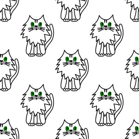 Seamless pattern with cute cat. Perfect for fabric, packaging, Wallpaper, clothing and other surfaces, preschool and children room decoration.