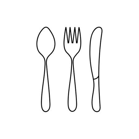 Contours of Cutlery, spoon, fork and knife isolated on a white background. Vector illustration.