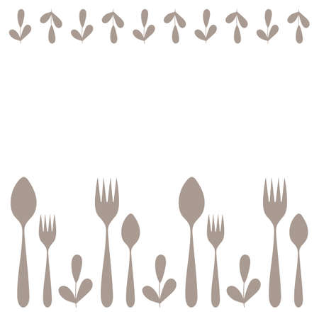 Hand drawn spoon, fork and sprig of a plant. Silhouettes Of Cutlery. Kitchen utensils. Design for menu, poster and more. space for text. Vector illustration  イラスト・ベクター素材