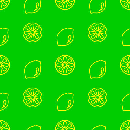 Seamless background with a whole lemon and a slice . Outline of yellow fruit on a green background. Vitamins, vegetarianism, vector illustration for fabric, packaging and other surfaces.  イラスト・ベクター素材