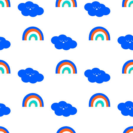Rainbow and cute Kawaii Clouds. Seamless childish pattern. Flat style. Scandinavian kids texture for fabric, wrapping, textile, wallpaper. Vector background,