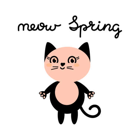 Pink cat , cute face. Meow Spring , text. Kawaii animal. Cute cartoon funny character. Vector Flat design isolated on white background.  イラスト・ベクター素材
