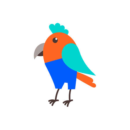Cute parrot bird in jeans , childish hand drawn illustration. Flatstyle. Vector .  イラスト・ベクター素材