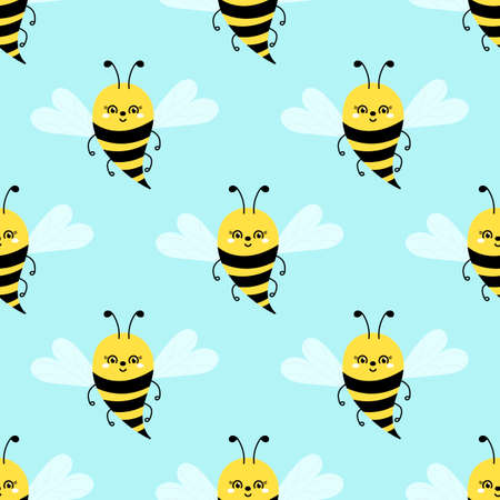 Bee seamless pattern on light blue. Cute cartoon bee or Bumble Bee . Vector illustration. Hand drawn insects for wallpaper, fabric and other. Ilustrace