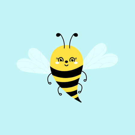 Cute cartoon bee or Bumble Bee . Vector illustration. Hand drawn insects. Ilustrace
