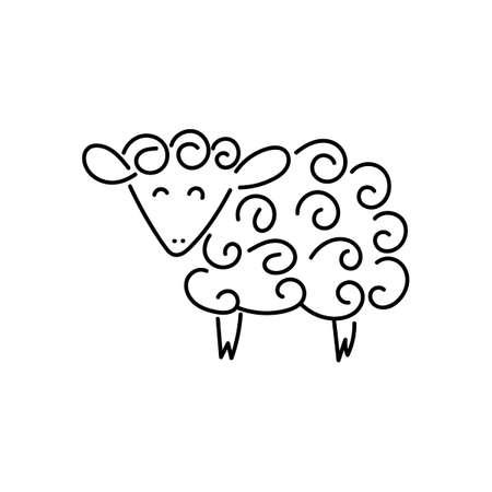 Vector sheep or ram icon, template. Silhouette modern emblem for market, internet, design, decoration. Trendy simple lamb or ewe symbol. Graph symbol