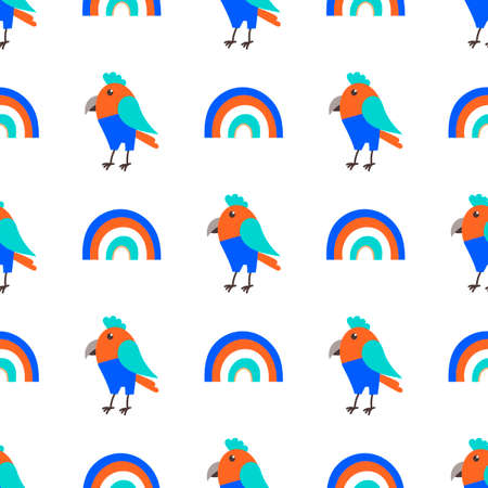 Cute parrot bird in jeans and Rainbow, Seamless childish pattern. Flatstyle. Vector background.