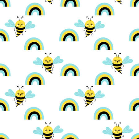 Cute cartoon bee or Bumble Bee and rainbow. Flat style. Vector seamless pattern on white. Hand drawn insects.