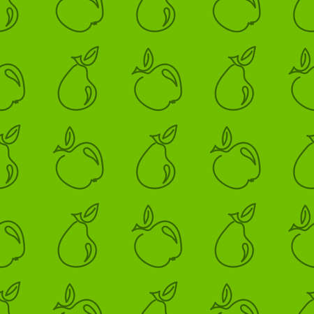 Seamless pattern with Apple and pear-shaped outline isolated on white background. Summer fruits rich in vitamins, vegetarianism, vector illustration for fabric, packaging and other surfaces.