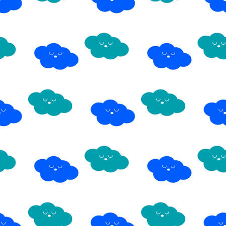 Cute Kawaii Clouds. Seamless childish pattern. Flat style. Scandinavian kids texture for fabric, wrapping, textile, wallpaper. Vector background,