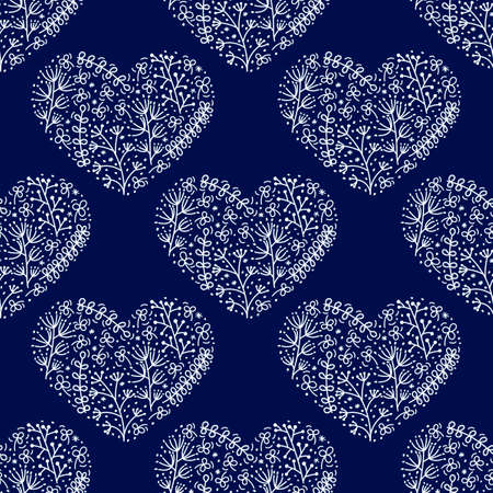 Hand drawn heart shape is filled with doodles of flowers, stylized plants, dots. Seamless pattern on blue background for fabric and other..  イラスト・ベクター素材