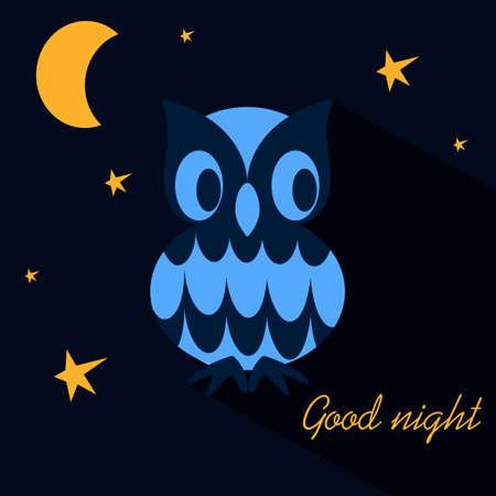 Good night. Cute Owl, Moon and stars against the night sky. Vector