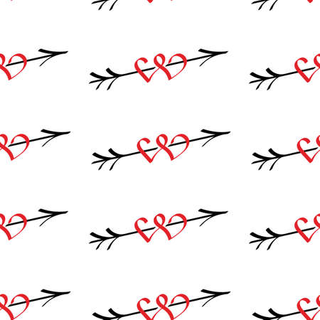 Seamless pattern with arrows and hearts on white background. Vector illustration. Decorative hippie elements