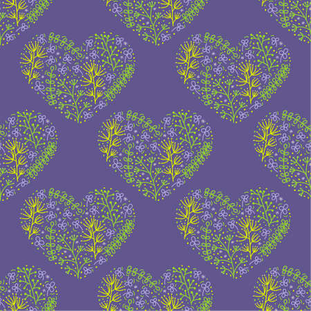 Hand drawn hearts with plants. Seamless pattern for fabric and other