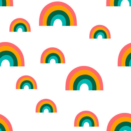 Seamless pattern with bright rainbows on a white background .