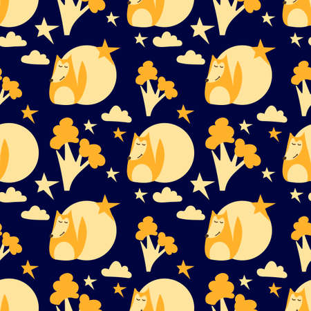 Seamless pattern. Cartoon Doodle Fox , the stars, the moon . Vector illustration for kids fashion,childrens fabrics, childrens room, baby shower. Scandinavian print or poster, pajamas party