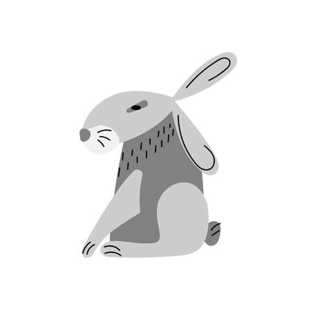 Grey hare in the pose of an Egyptian statue, isolated on a white background. Vector illustration. Cartoon animal in flat style