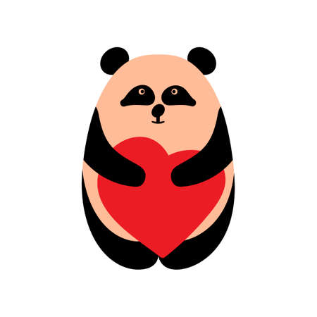 I love you. Greeting card for Valentines Day, birthday, Mothers Day, wedding with cute panda and heart. Vector illustration  イラスト・ベクター素材